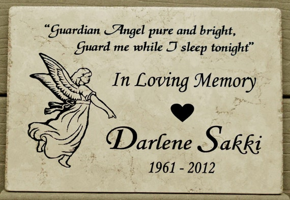 "Garden Memorial Angel Plaque- Maintenance free 12x8x3/8"" Weathered Italian Porcelain Stone"