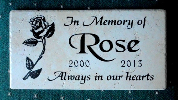 "Rose Design Garden Memorial Plaque -12x6""  No Maintenance Weathered Italian Porcelain Stone.."