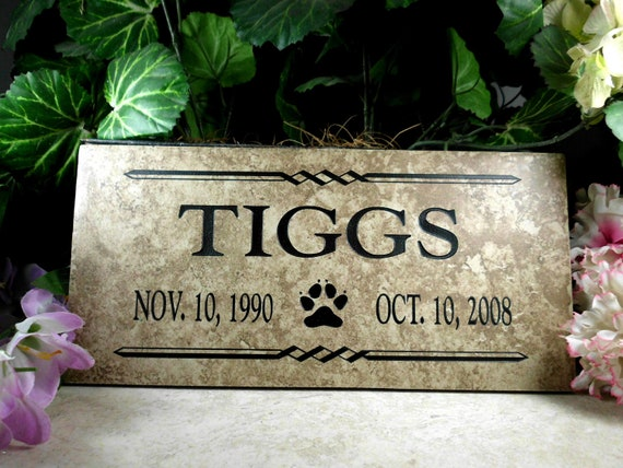"Pet Memorial plaque. Maintenance Free 12""x6""x3/8"" Weathered Italian Porcelain- 'Tiggs' Design"