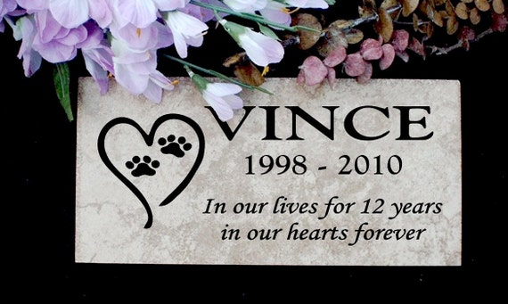 "Pet Memorial plaque. Maintenance Free 12""x6""x3/8"" Weathered Italian Porcelain Stone 'Vince' Design"