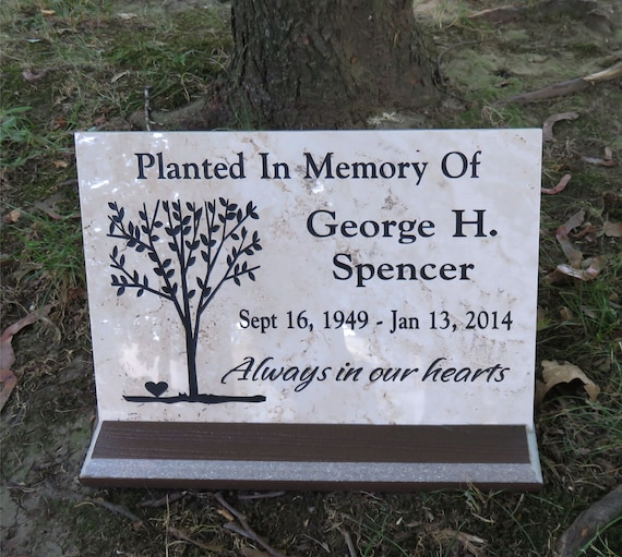"""Tree Memorial/Dedication plaque. 12""""x8"""" Maintenance Free Polished Porcelain Stone Tile- Satisfaction Guaranteed - Free Priority Shipping"""