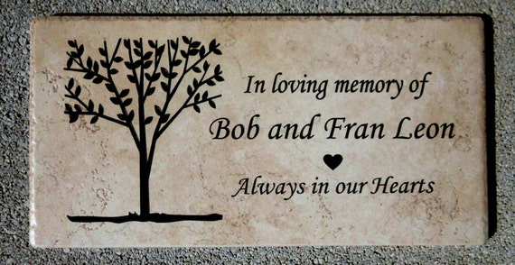 "Tree Dedication/memorial plaque. Maintenance Free 12""x6""x3/8"" """