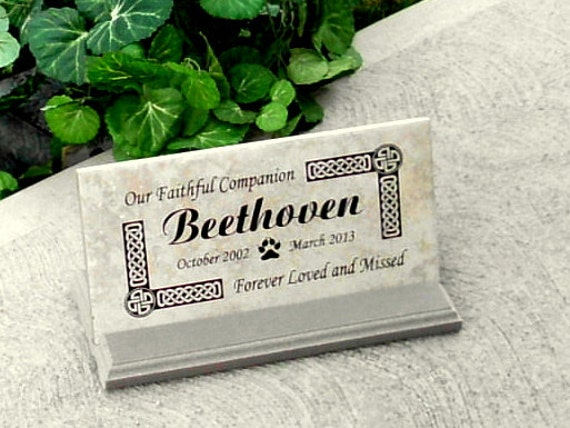 "Pet Memorial Plaque Custom Engraved 12x6x3/8"" - ""Beethoven"" Design"