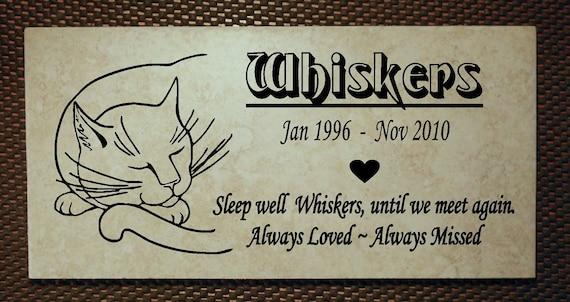 "Cat Memorial plaque. Maintenance Free 12""x6""  ""Whiskers"" Design"