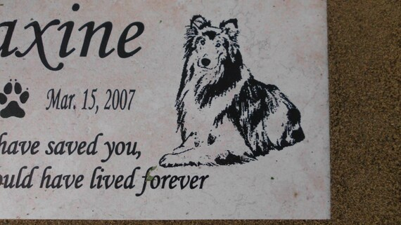 Collie Memorial Marker 12x6 Weathered Italian porcelain stone tile. Maxine Design