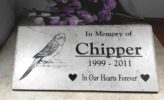 "Parakeet Grave Marker 12x6x3/8  ""Chipper"" design - No Maintenance -Weathered Italian Porcelain"