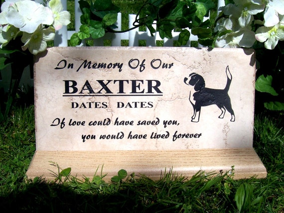 "Beagle Memorial plaque. Maintenance Free 12""x6""x3/8"" Weathered Italian Porcelain Tile"