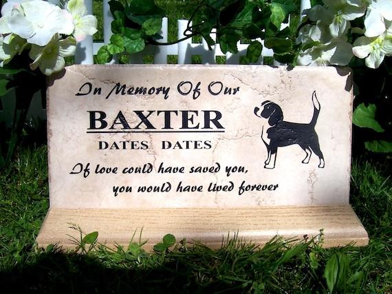 "Beagle Memorial plaque. Maintenance Free 12""x6""x3/8"" Weathered Italian Porcelain Tile"