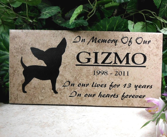 """Chihuahua Grave Marker 12x6 - """"Gizmo"""" design - Weathered Italian porcelain stone tile"""