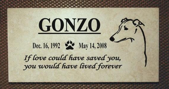 "Greyhound Memorial plaque. Maintenance Free 12""x6""x3/8"" Weathered Italian Porcelain Stone Tile"