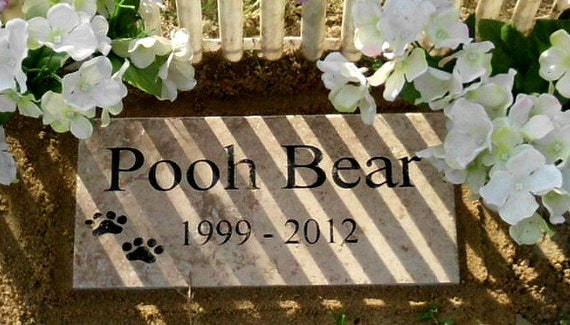 "Pet Memorial Grave Marker 12x6  Weathered Italian Porcelain - ""Pooh Bear"" Design"