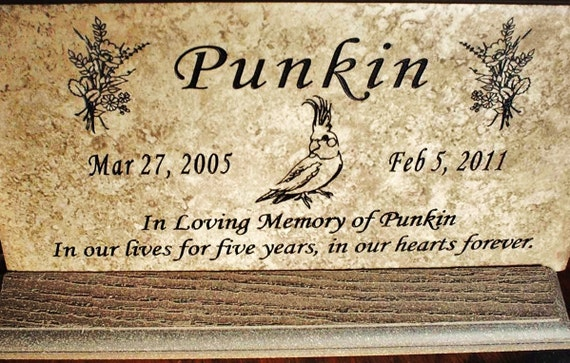 "Cockatiel Memorial plaque. Maintenance Free 12""x6""x3/8"" Weathered Italian Stone Tile- 'Punkin' design"