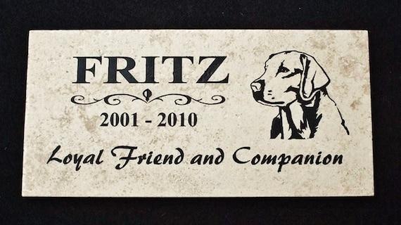 """Labrador Retriever Grave Marker 12x6 - """"Fritz"""" Design"""