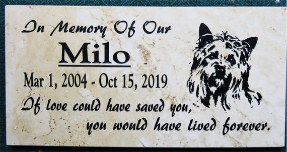 Yorkie memorial plaque. 12x6 Maintenance Free Polished Porcelain Stone Tile- Satisfaction Guaranteed - Free Priority Shipping