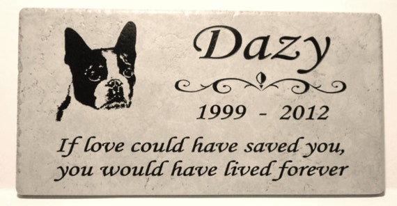 "Boston Terrier Memorial Marker 12x6x3/8"" Weathered Italian Porcelain. Maintenance free."