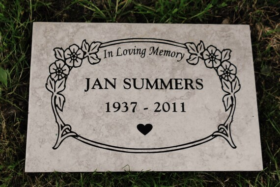"Garden Memorial Plaque - Floral Border 12x8""  Weathered Italian Porcelain Tile"