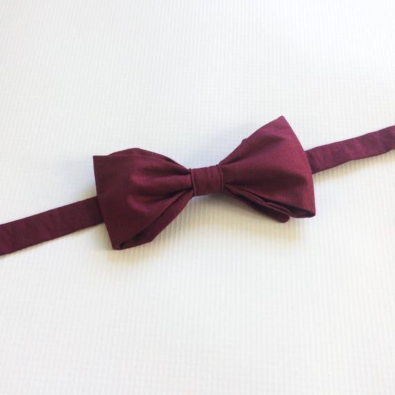 Merlot Burgundy Self-tied Untied Tip Bowtie Linen Wedding Tie.Maroon Adjustable Untied Diamond bow tie Groomsmen Gift Neck Tie