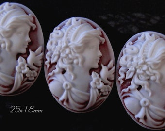 """25x18mm Cameo - White on Ruby(frosted) - """"Sweet Charlotte II"""" - 3 pcs : sku 01.22.13.13 - E59"""