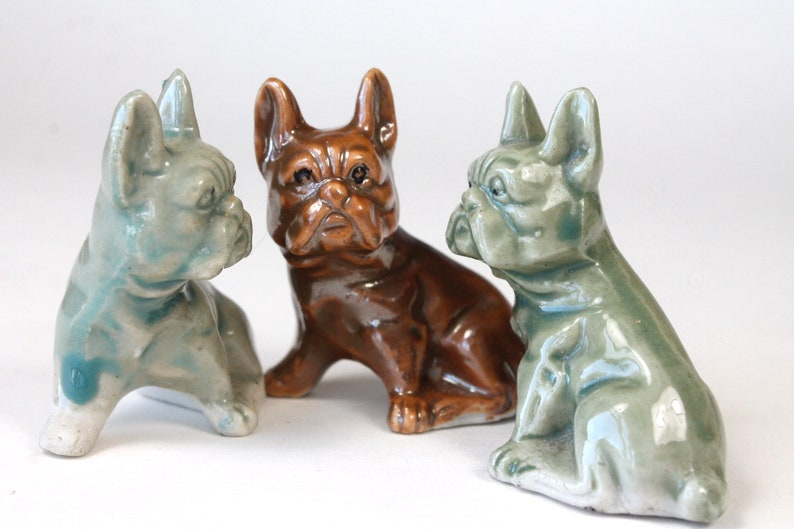 Dog Figurines Made in Japan 1950s 1960s Small Porcelain BullDogs Green Blue Brown Glaze Vintage French Bulldog Figurines