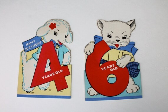 Vintage Animal Birthday Cards Fold Out Greeting Kittens