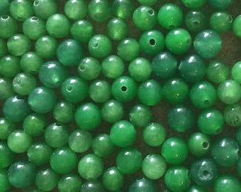 30 x 6mm green dyed jade round beads