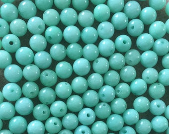30 x 6mm mint green dyed jade round beads