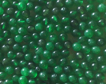 30 x 6mm dark green dyed jade round beads