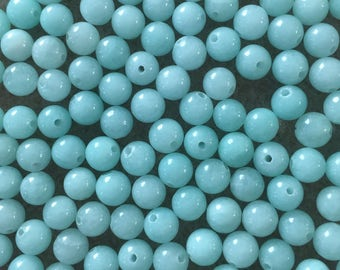 30 x 6mm pale mint green dyed jade round beads