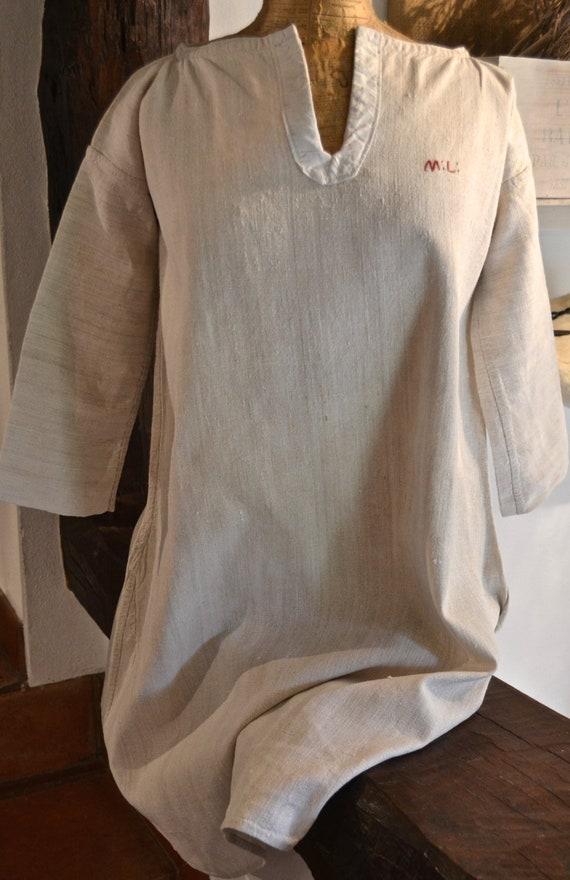 f68f04d510 Antique Thick Handloomed Hemp French Night Dress 19th