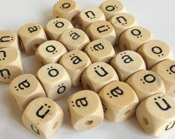 German Umlaut Alphabet Beads -25- Wooden Beads - Cube Beads