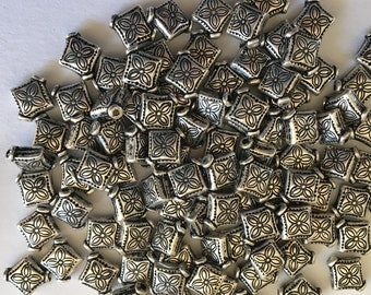 100 Silver Plated Diamond Shaped-9 mm-  flat bead - 1 mm hole -
