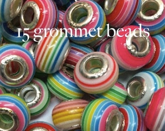 Striped Large Hole Beads - Silvertone Grommet