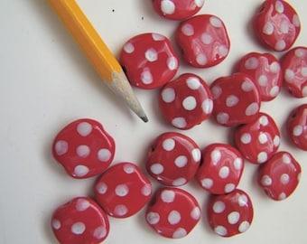"Kazuri ""Pebbles"" Beads - Twelve  (12) Red White Dotted"