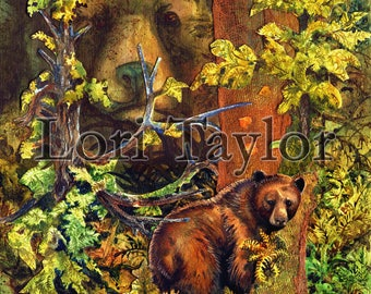 Bears Out There - Limited Edition Reproduction Giclee Print in 16x20 black mat