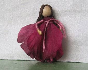 Magenta and Pink Flower Fairy - Fairy Doll - Waldorf Doll - Bendy Doll - Art Doll - Poppy
