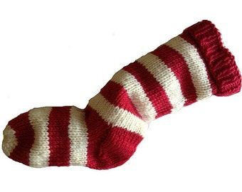 Hand Knit Christmas Stocking Hand Knit Red and Natural White Striped Santa Sock