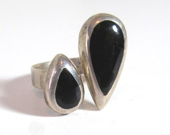 Sterling Silver Double Teardrop Ring