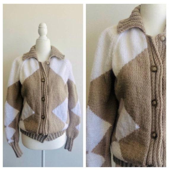 Vintage Handmade Argyle Cardigan Geometric Sweater