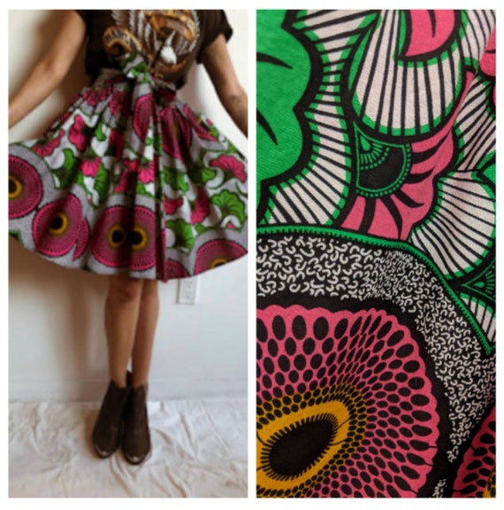 Patterned FUll skirt Folk Mexican Style Colorful D