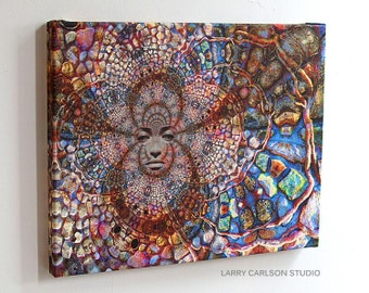 Stone Wall Trip - 16x20 gallery wrap canvas / fine art  print - trippy surreal visionary art