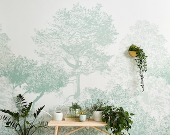 Hua Trees Mural Wallpaper Green