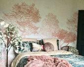Hua Trees Mural Wallpaper Pink