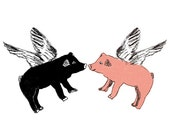 Flying Pigs Fabric Sticker Sets