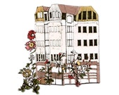 House With Flower Garden Magnet