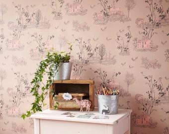 Woodlands Wallpaper - Brown Pink
