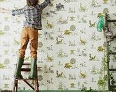 Magnetic Dino Wallpaper - Yellow Green