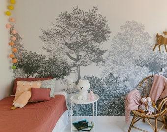 Hua Trees Mural Wallpaper Grey