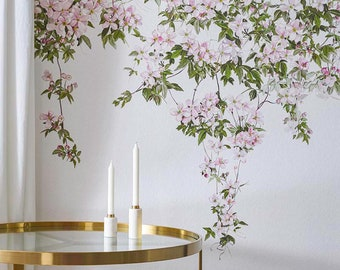 Classic Clematis Mural Wallpaper White