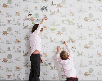 Magnetic Dino Wallpaper - Pink Green