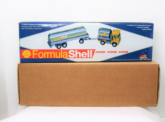 New in Box Die-Cast Limited Edition EPI Formula Shell Tanker Truck Bank